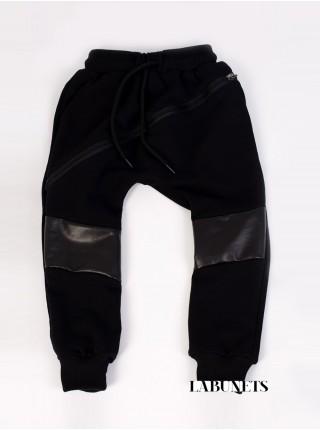 Штаны детские черные со вставками из кожи