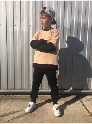 Спортивный костюм для мальчика черно-бежевый